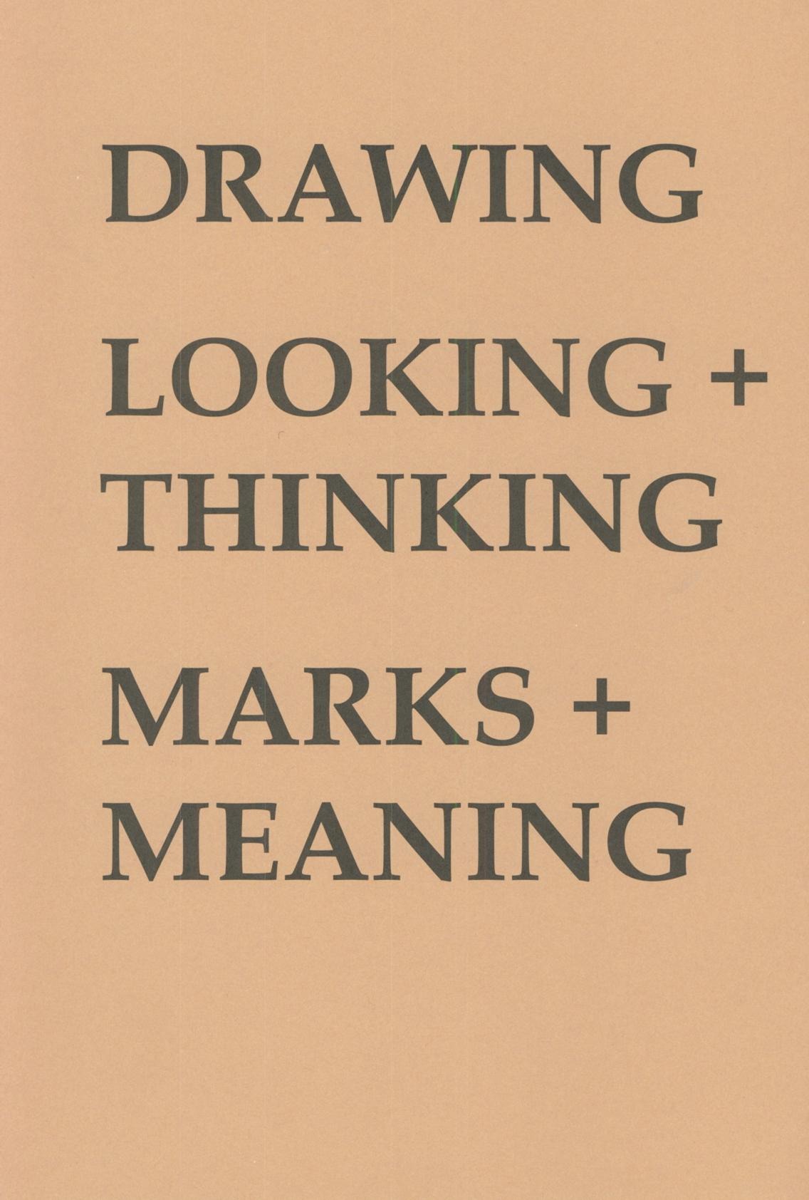 Drawing: Looking and Thinking: Marks and Meaning