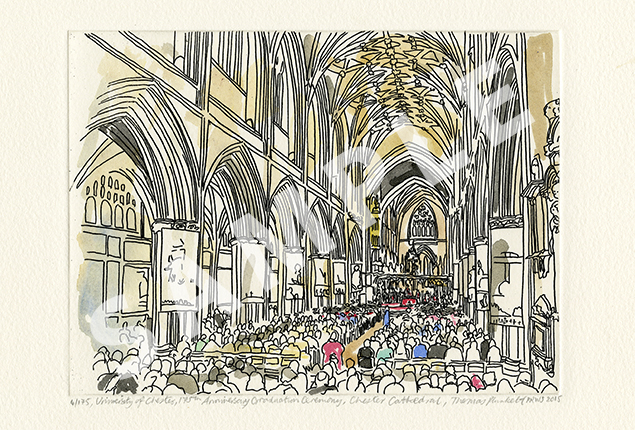 Thomas Plunkett Etching4 - A view from inside Chester Cathedral