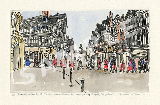 Thomas Plunkett Etching1 - The Graduation procession passing Eastgate Street, City of Chester